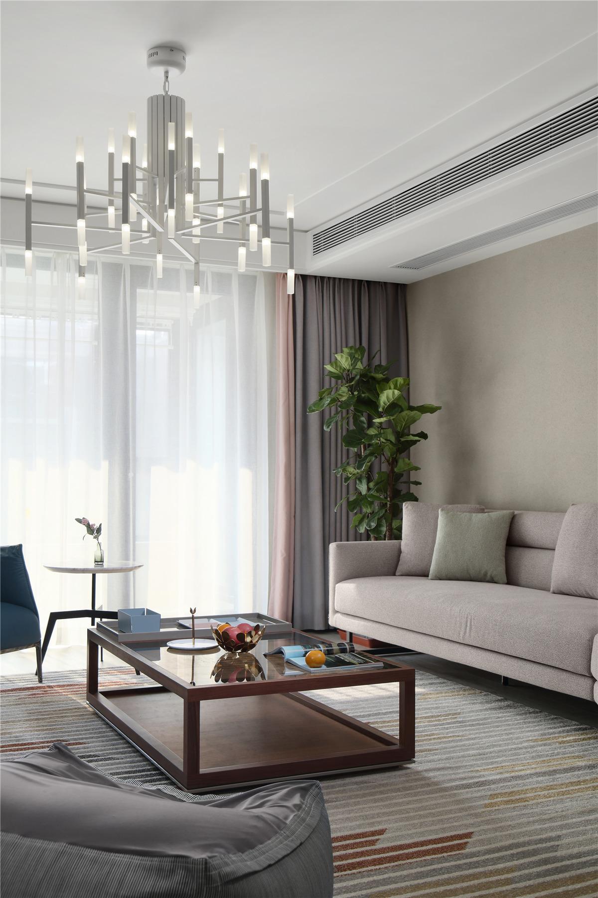 189m²现代风装修客厅吊灯设计图