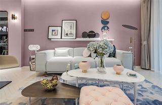 轻奢风三居室沙发背景墙装修效果图