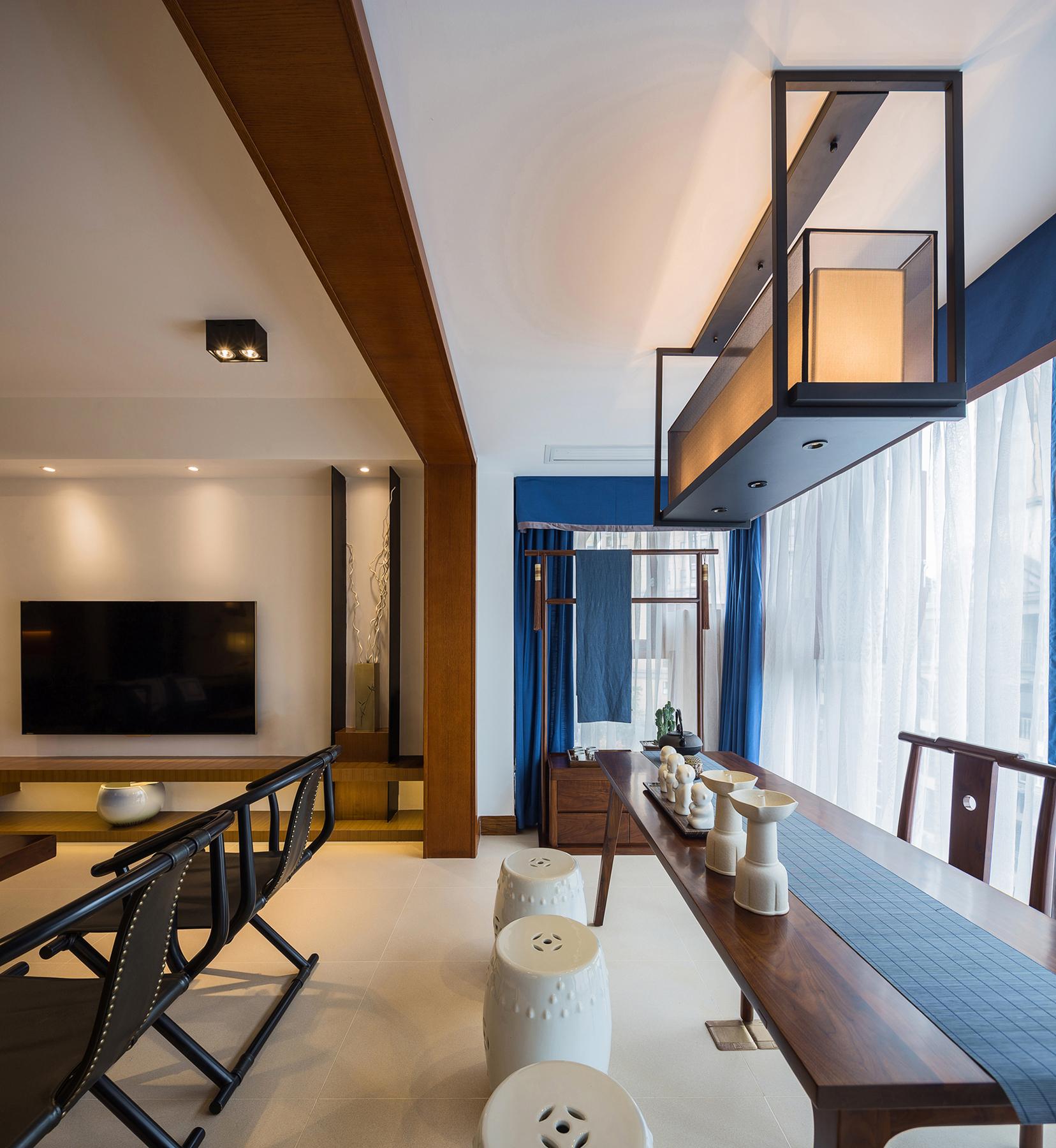 175m²新中式客厅阳台装修效果图