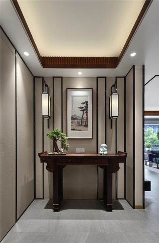 现代中式三居玄关装修效果图