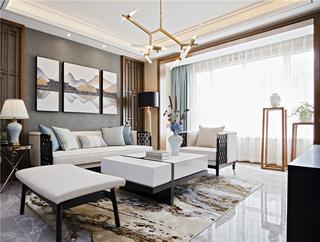100m²新中式客厅装修效果图