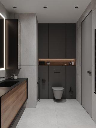 现代简约公寓卫生间装修效果图