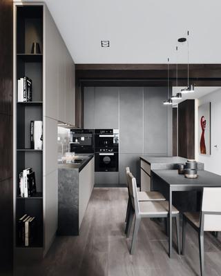 110m²现代风厨餐厅装修效果图