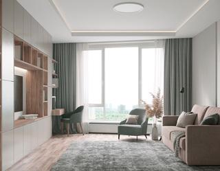 62㎡现代公寓客厅装修效果图