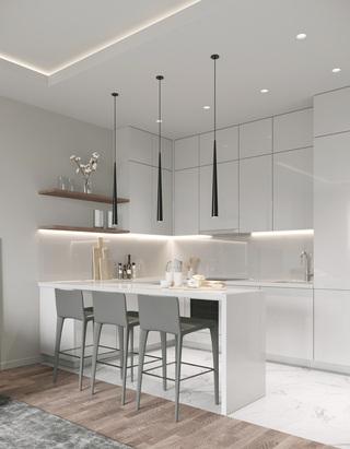 62㎡现代公寓厨餐厅装修效果图