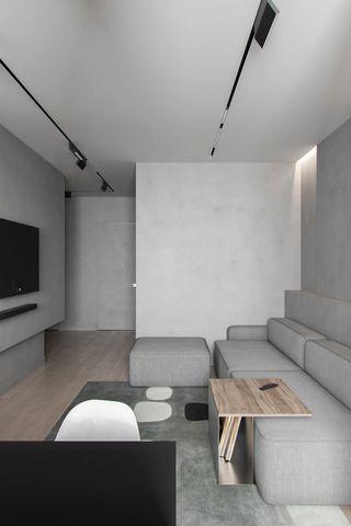 68平高级灰客厅装修效果图