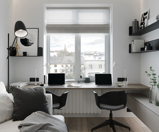 小户型一居室工作台装修效果图