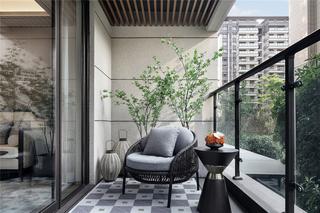 110m²新中式阳台装修效果图