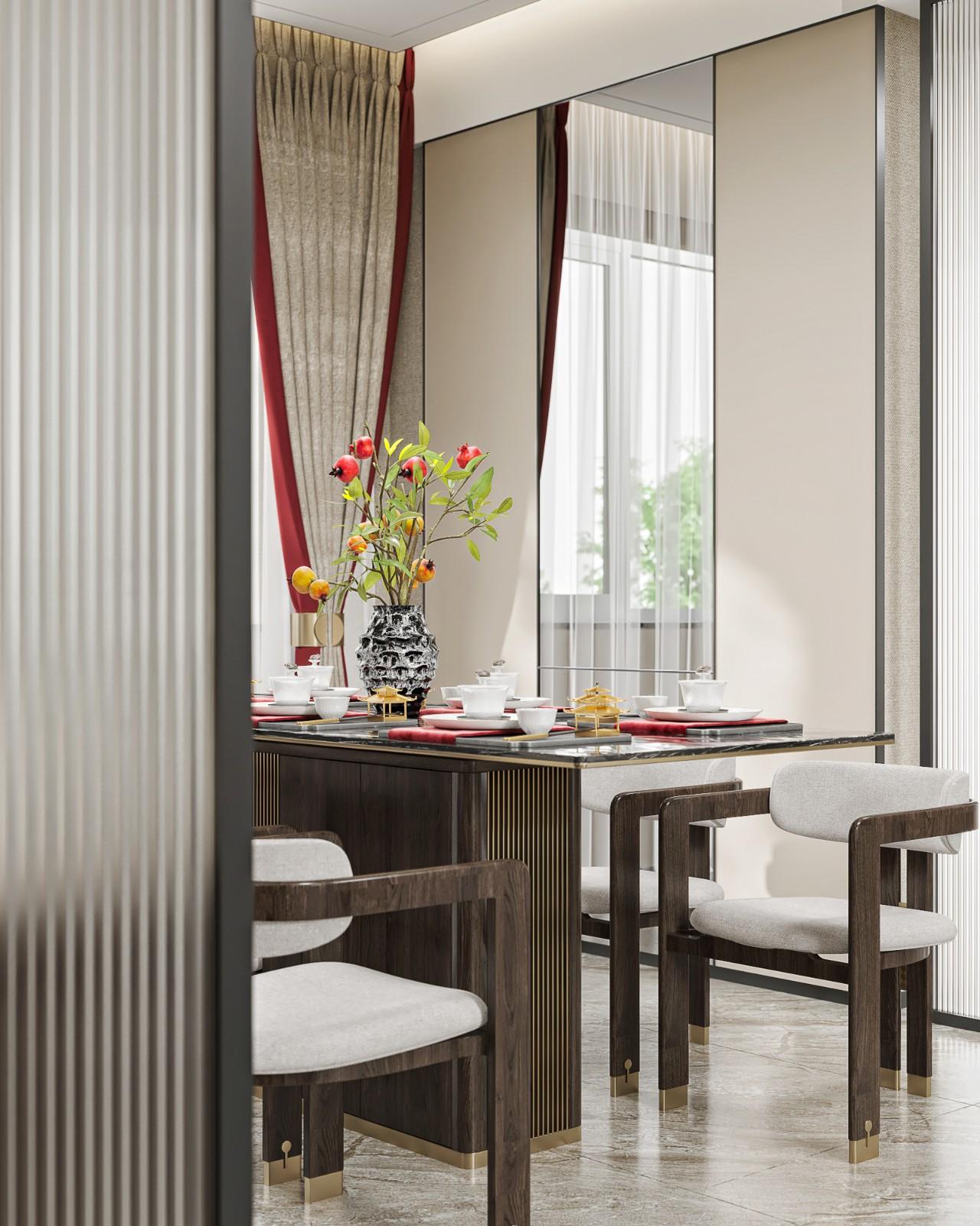 新中式样板间餐厅装修效果图