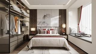 新中式样板间卧室装修效果图